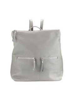 Neiman Marcus Zip-Pocket Square Leather Backpack