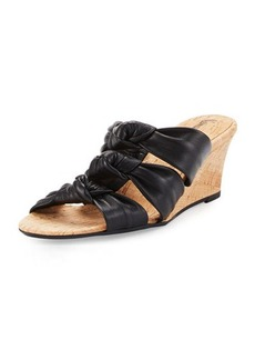 Neiman Marcus Marcela Knotted Leather Wedge Sandal