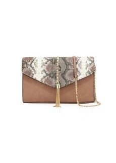 Neiman Marcus Margaret Snake-Print Chain Clutch Bag