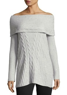 Neiman Marcus Marilyn Off-The-Shoulder Sequined Sweater