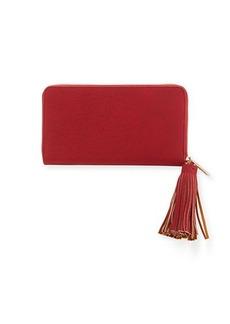 Neiman Marcus Matte Pebbled Zip-Around Wallet