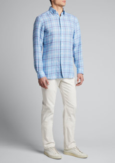 Neiman Marcus Men's Madras Plaid Linen Sport Shirt
