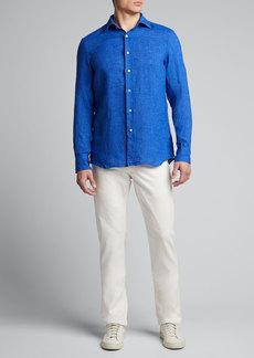 Neiman Marcus Men's Solid Linen Sport Shirt