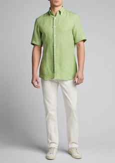 Neiman Marcus Men's Solid Short-Sleeve Yarn-Dyed Sport Shirt