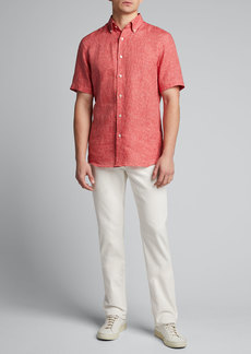 Neiman Marcus Men's Solid Yarn-Dyed Linen Short-Sleeve Sport Shirt