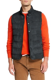 Neiman Marcus Men's Water-Repellant Suede Padded Vest