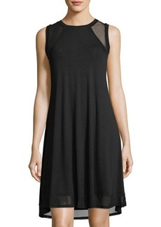 Neiman Marcus Mesh-Inset High-Low Tank Dress