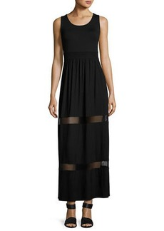 Neiman Marcus Mesh-Inset Maxi Dress