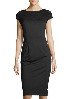 Neiman Marcus Mesh-Yoke Midi Sheath Dress