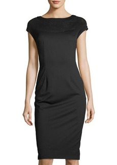 Neiman Marcus Mesh-Yoke Midi Sheath Dress