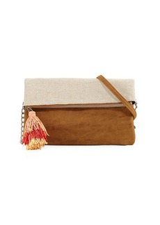 Neiman Marcus Metallic Canvas Fold-Over Clutch Bag
