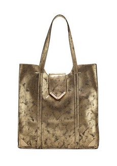 Neiman Marcus Metallic Faux-Leather Tote Bag