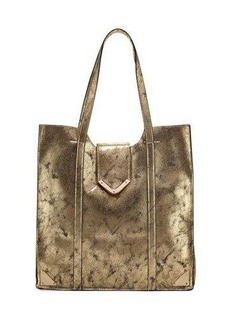 Neiman Marcus Metallic Faux-Leather Tote Bag
