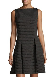 Neiman Marcus Metallic Ottoman-Ribbed Fit & Flare Dress