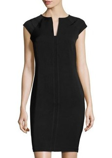 Neiman Marcus Military Solid Sheath Dress
