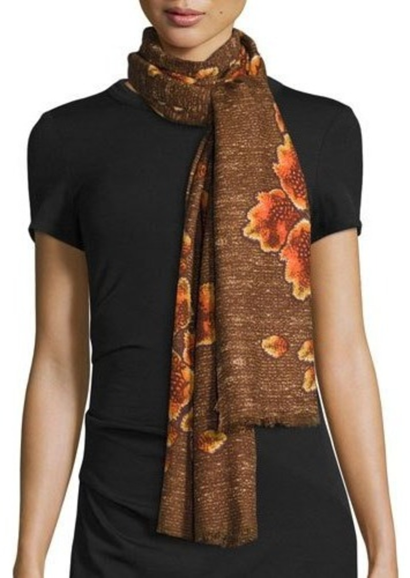 Neiman Marcus Mirrored Floral Print Scarf