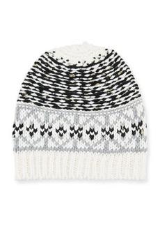 Neiman Marcus Mixed Fair Isle-Pattern Knit Hat