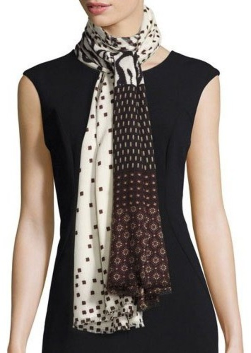 Neiman Marcus Mixed-Print Wool Scarf