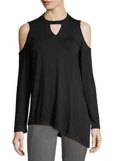 Neiman Marcus Mock-Neck Asymmetric Tunic