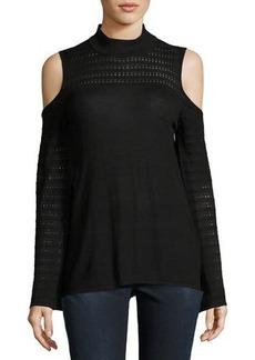 Neiman Marcus Mock-Neck Cold-Shoulder Knit Top