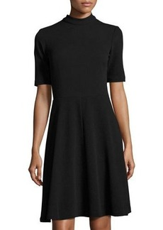 Neiman Marcus Mock-Neck Short-Sleeve Fit & Flare Dress