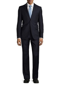 Neiman Marcus Modern-Fit Solid Wool Two-Piece Suit