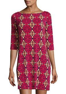 Neiman Marcus Nouveau V-Back Printed Sheath Dress