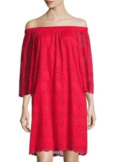 Neiman Marcus Off-Shoulder Lace Dress