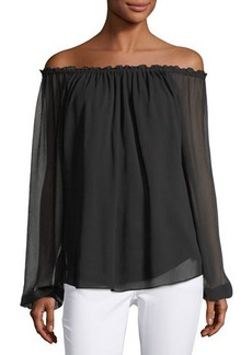 Neiman Marcus Off-the-Shoulder Babydoll Top