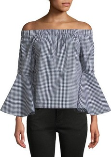 Neiman Marcus Off-The-Shoulder Bell-Sleeve Gingham Blouse