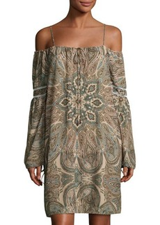 Neiman Marcus Off-the-Shoulder Boho Sheath Dress