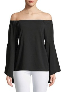 Neiman Marcus Off-The-Shoulder Cacading-Sleeve Blouse
