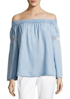 Neiman Marcus Off-the-Shoulder Chambray Peasant Top