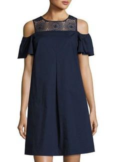 Neiman Marcus Off-the-Shoulder Crochet Lace Mini Dress