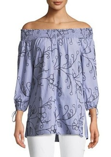 Neiman Marcus Off-The-Shoulder Embroidered Poplin Blouse