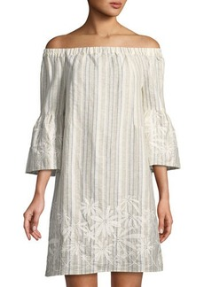 Neiman Marcus Off-the-Shoulder Embroidered Striped Linen Dress