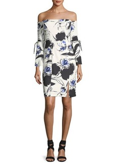 Neiman Marcus Off-the-Shoulder Floral-Print Dress