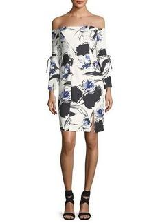 Neiman Marcus Off-the-Shoulder Floral-Print Dress