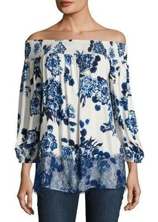 Neiman Marcus Off-the-Shoulder Floral-Print Top