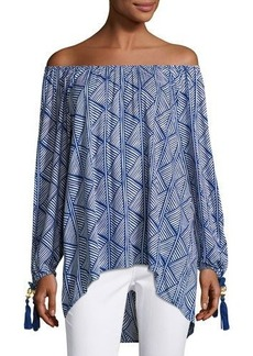 Neiman Marcus Off-the-Shoulder Graphic-Print Top