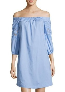 Neiman Marcus Off-The-Shoulder Lace-Trim Dress