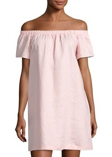 Neiman Marcus Off-the-Shoulder Linen Dress
