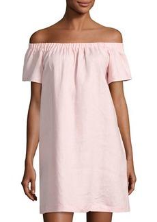 Neiman Marcus Off-the-Shoulder Linen Dress