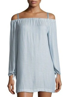 Neiman Marcus Off-the-Shoulder Long-Sleeve Dress