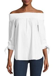Neiman Marcus Off-the-Shoulder Poplin Shirt
