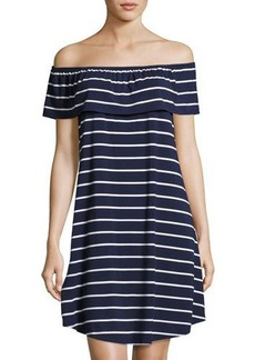 Neiman Marcus Off-the-Shoulder Popover Striped Dress