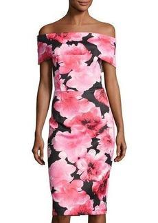 Neiman Marcus Off-the-Shoulder Rose-Print Scuba Sheath Dress