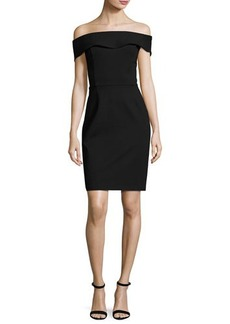 Neiman Marcus Off-The-Shoulder Sheath Dress