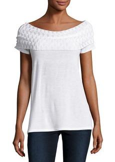Neiman Marcus Off-the-Shoulder Side-Slit Top