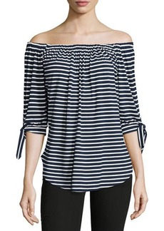Neiman Marcus Off-the-Shoulder Striped Top